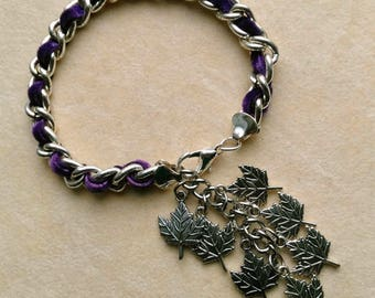 Women's Vintage Bracelet with Purple Velvet, Large Silver Plated Chain, 10 mm Links, Silver Plated Leaves, Autumn Bracelet by enchantedbeads