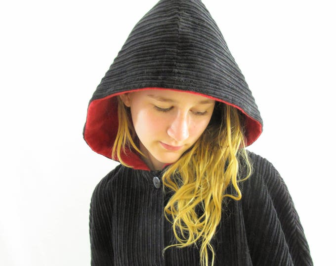 Girls Cape, Boys Cape, Long Black Cape with Red Lining, Warm Winter Cape, Boys Cloak, Girls Coat, Boys Coat, Hooded Cape, Ages 8 - 12
