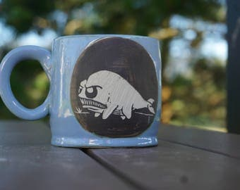 Miffed walking whale Sgrafitto Mug