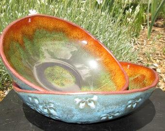 Set of Two Handbuilt Bowls in Turquoise Blue/Orange/Speckled Green