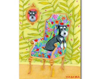 Schnauzer portrait painting Cute miniature schnauzer on a floral chair Original acrylic painting by artist Tascha