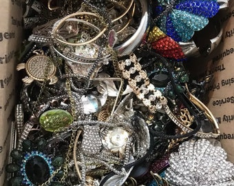 Over 13 Pounds Rhinestone Jewelry Lot  : Wear Repair & Repurpose