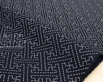 Japanese Fabric - sashiko sayagata - navy blue - 50cm