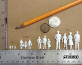 10 1:87 HO Scale Miniature Human Figures - White for dioramas, miniatures, railroad, architecture, and crafts