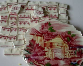 Craft Supplies Mosaic Pieces -  Scenic Focal Tile - Accent tiles Pink to Dark Pink - Cottage - Trees - Vintage Broken China