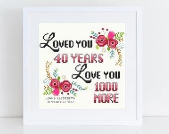 Modern Cross Stitch Pattern Anniversary Promise Anniversary Gift Custom Cross Stitch Embroidery Pattern Couples Love