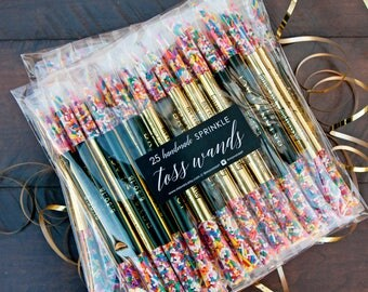 Wedding Send off, Sprinkle Stick Toss Wands - Confetti, Rice, Alternative  - Rainbow Wedding Exit - Gold Foil + Names - 25 individual tubes