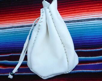 Authentic Native American tipi pouch/white buckskin leather hand sewn medicine tobacco bag/small pouch bag/American Indian handmade pouch