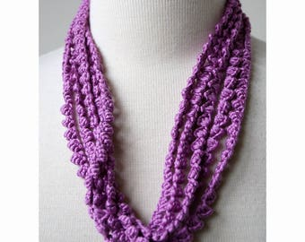 Multi Strand 100% Silk Textile Necklace in ORCHID / LILAC, Fiber Art Jewelry, Statement Necklace, Natural, Unusual, Boho, Elegant, Unique