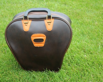 VINTAGE brown with orange bowling ball BAG