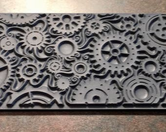 STEAMPUNK SWIRL Gears Clay Texture Imprint, Rubber Stamp Mat Inks Paint  TTL400