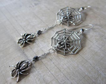 Cobwebs - Asymmetrical Spider and Spiderweb Earrings