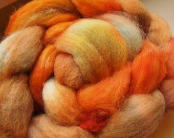 Handdyed Roving Wool Spinning Felting 3.5oz Corriedale Cross Handspinning Felting Fiber Aspenmoonarts B2 Orange