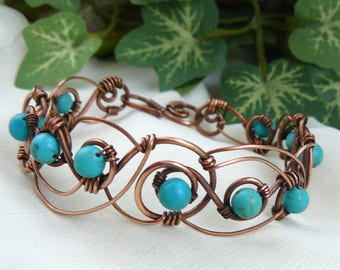 Turquoise and Copper Bracelet ~ Turquoise Bracelet ~ Copper Bracelet ~ Copper Wire Bracelet ~ Wirewrapped Turquoise Bracelet ~Wire Bracelet