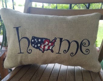 Home USA embroidered burlap pillow - 12x18