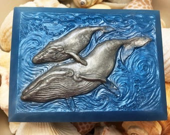 Whale Soap, Ocean Soap, Vegan Soap, Handmade Soap, Beach House Soap, Bar Soap, Humpback Whale Soap, Natural Soap, Gift for Him, Ocean Decor