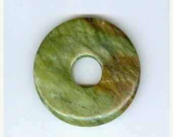 PI DAY SALE Green Jasper Donut 45mm Bright Green Brown Jasper Gemstone Pi Donut Focal Pendant 6108