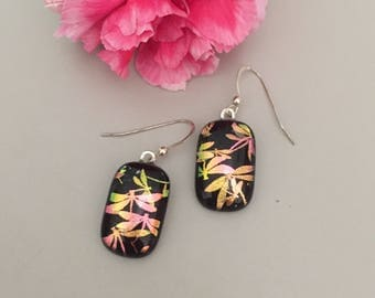 Beautiful Dragonfly Design Fused Dichroic Art Glass Jewelry  Dangle Earrings Free shipping