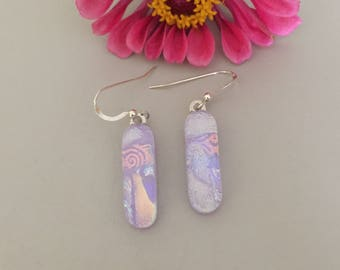 Purple Multi Color Handmade Fused Dichroic Glass Earrings with Sterling Silver Ear Wires FREE shipping