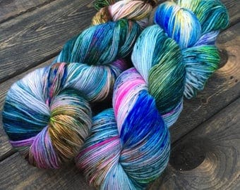 Hand Dyed Sock Yarn - Classic Sock - 75/25 Superwash Merino Wool/Nylon - 100g skein - Moraine Lake