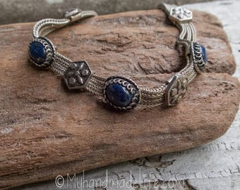 Sterling Silver and Denim Lapis Bracelet || Earthy and Organic | Natural Denim Lapis Stones | Vintage Sterling and Lapis Bracelet Under 50