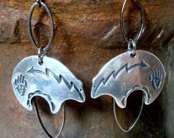 Native American Bear  Earrings with Oval Rings