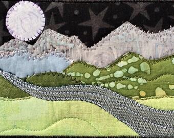 Mountain Art - Girlfriend Gift - Moon and Stars - Quilted Fabric Postcard - Landscape Art - Fiber Art - Mountain Decor - Romantic Night