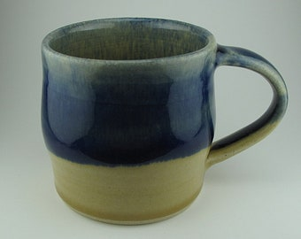 Handmade Pottery Ceramic Cobalt Blue and Straw Yellow Mug By Powers Art Studio