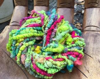 Handspun Art Yarn- Neon Garden -Signature Jazztutle TextureSpun Artisan Yarn