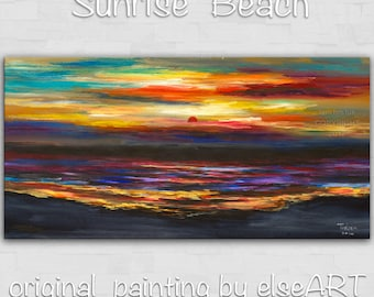 Sale Original abstract painting Sea art Sunrise Beach Wave on gallery wrap canvas oil painting home art by tim Lam 48x24
