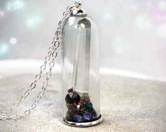 Crystal Terrarium - Terrarium Necklace - Terrarium Pendant - Terrarium Jewelry - glass terrarium - glass orb necklace - crystal point