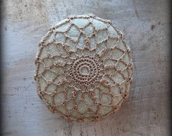 Crocheted Stone, Handmade, Unique Gift, Decorative Doily Rock, Bohemian Beach, Brown, Fiber Art, Gift, Miniature Art, Collectible, Monicaj