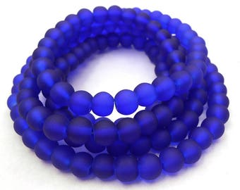 60 Blue Sea Glass Beads 6mm round (H5029)