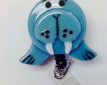 Retractable Badge Reel Fused Glass Walrus.