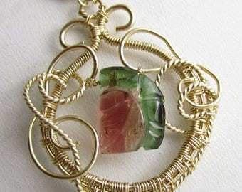 SUMMER SALE Carved Watermelon Tourmaline and 14k Gold Fill Wire Necklace