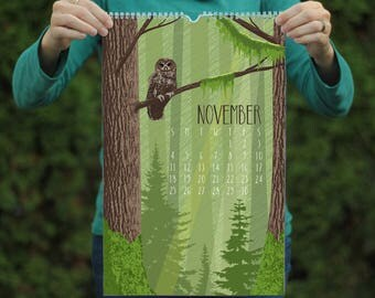 2018 Wall Calendar / Large Calendar / Wildlife