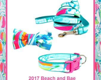 2017 BEACH and BAE Dog Collar and/or Leash on Teal with Bow or Flower Option Made from Lilly Pulitzer Fabric Size: Your Choice