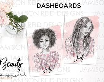 Beauty Hand-drawn Dashboard   choice of size