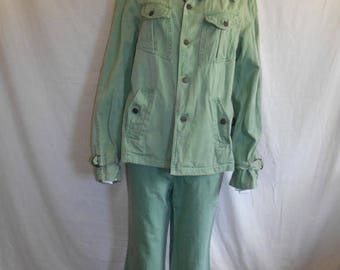 70s outfit pants jacket, men's green suit