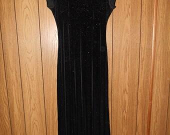 Vintage 90's  stretch stretchy black velvet  dress long maxi   sparkles sparkly     high neck