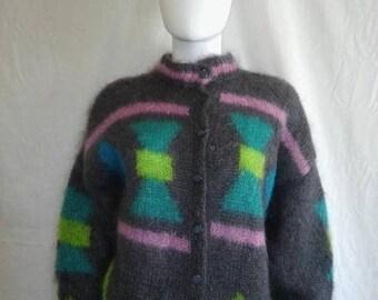 Closing Shop 40%off SALE Vintage Angora Cardigan Sweater // Handmade Sweaters // Button up cardigan
