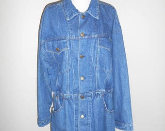 Closing Shop 40%off SALE 80s 90s vintage Paris Express  Denim Jean Jacket Size                 plus sized size