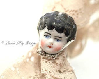 Doll Face Ring China Doll Head Frozen Charlotte Ring Fine Silver Plated Lorelie Kay Designs Doll Jewelry