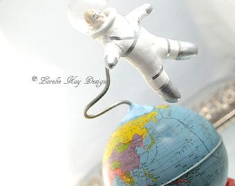 Escape The Chaos Art Sculpture Astronaut Outer space World Globe Mixed Media Sculpture Assemblage Art Doll Lorelie Kay Designs Original