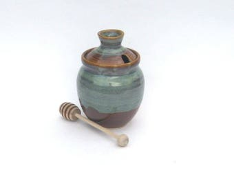Honey Pot with Dipper - Ponderosa Glaze
