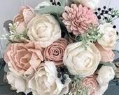 Sola flower bouquet, blush pink sola wood flower wedding bouque, eco flowers, alternative keepsake bouquet, navy blue wedding