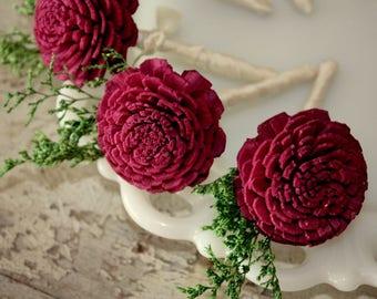 Sola wood flower boutonniere, marsala grooms flower, sola wood flower, burgundy wooden wedding flowers, wine pin on ecoflower, lapel flower