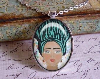 Frida Kahlo, original art, mixed media, art pendants, only 5 pendants made of each design, Frida Kahlo jewelry, black or silver settings