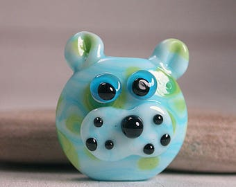Lampwork Glass Kitty Cat Face Focal Bead Whimsical Lampwork Divine Spark Designs SRA