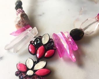 Penelope Necklace Hot Pink  Mixed Media Crystal and Stone Statement Necklace